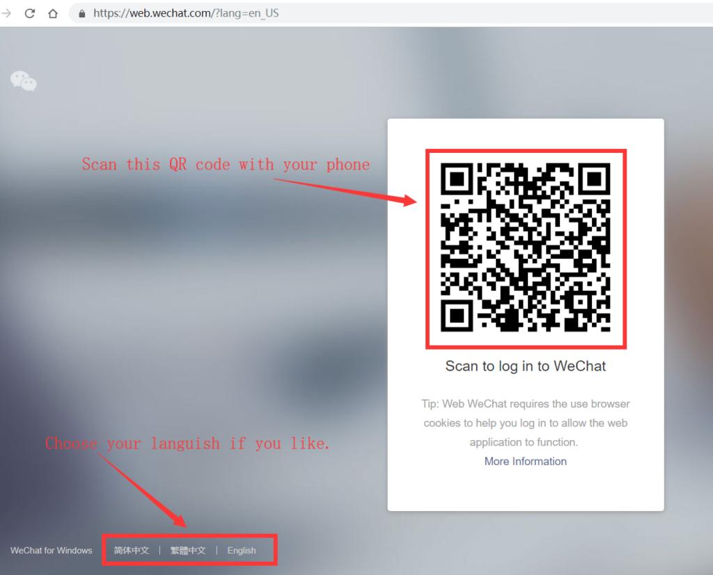 Phone in wechat login WeChat Web